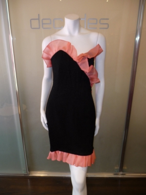 yves-saint-laurent-rive-gauche-black-strapless-dress-with-peach-organza-trim-and-bown-c-80s-modern-6